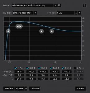 EQ in RX4 für das Stereosignal des Wildtronics Pro Mono-Stereo
